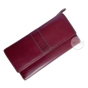 Coach Leather Wallet Checkbook Holder 2 Tone HTF